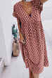 Meridress Deep V Neck Printed Casual Maxi Dress