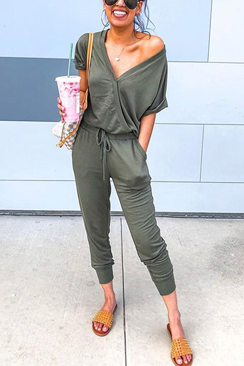 Meridress V Neck Short Sleeve Drawstring Jumpsuit with Pockets
