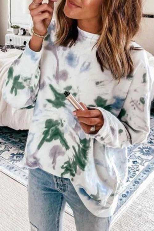 Meridress Joyce Long Sleeve Tie Dye Casual Sweatshirt