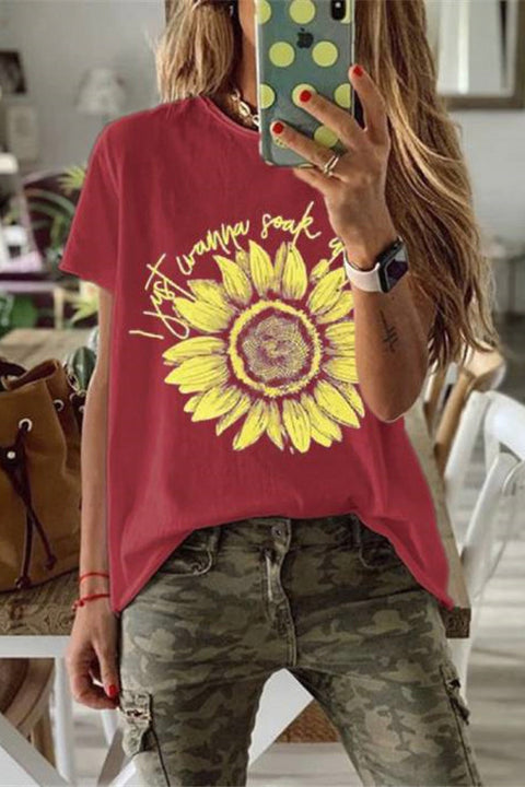 Meridress Sunflower Short Sleeve Casual T-shirt