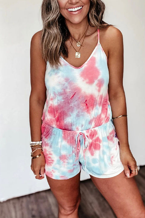 Meridress Tie Dye Strappy Backless Romper