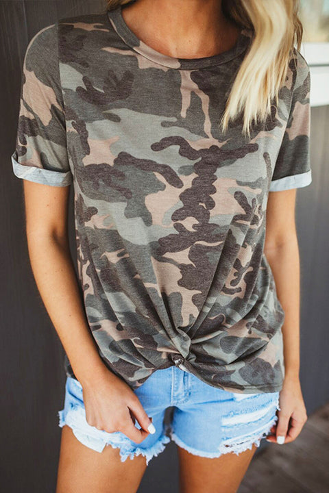 Meridress Camo Short Sleeve Casual Basic Shirt