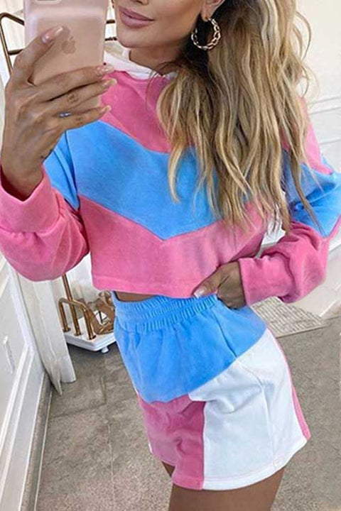 Meridress Color Block Hoodied Crop Tops and Shorts Set