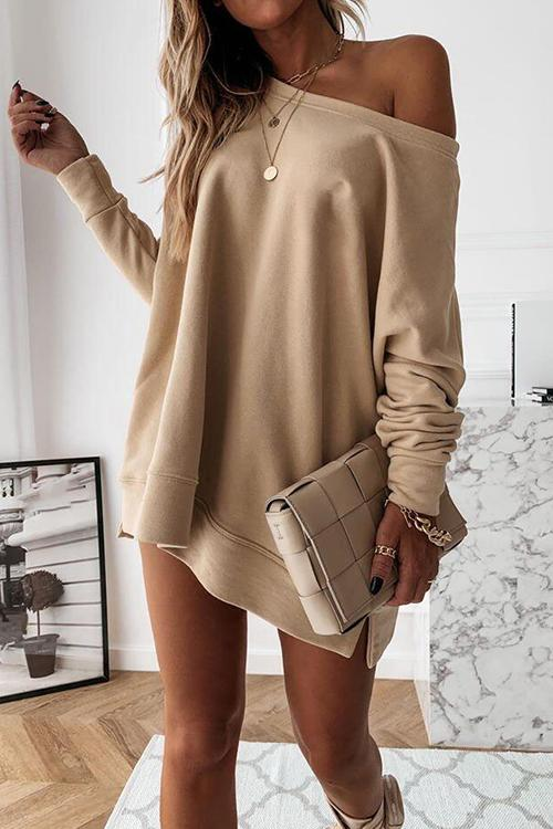 Meridress Fall Long Sleeve Side Split Loose Sweatshirt