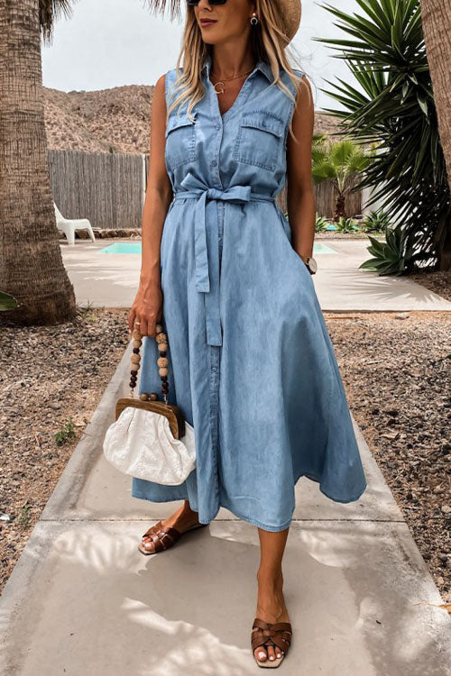 Meridress Button Down Tie Waist Sleeveless Midi Denim Dress