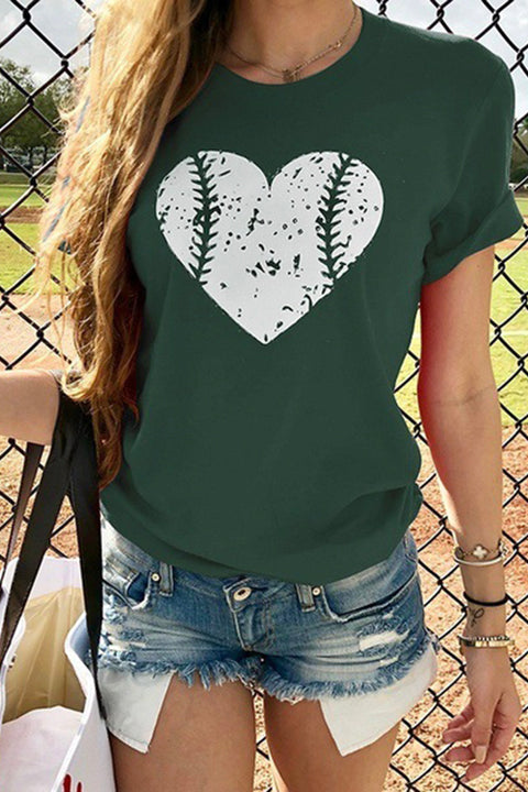 Meridress Heart Baseball Print Graphic T-Shirt
