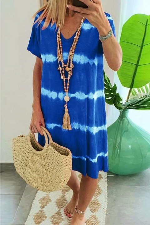 Meridress Hope Tie Dye Casual Loose Midi Dress