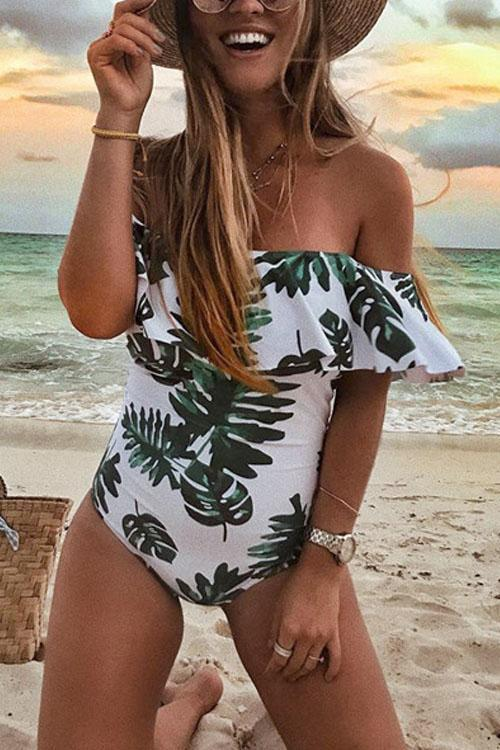 Meridress  Green Palm Leaves One-piece Swimwear
