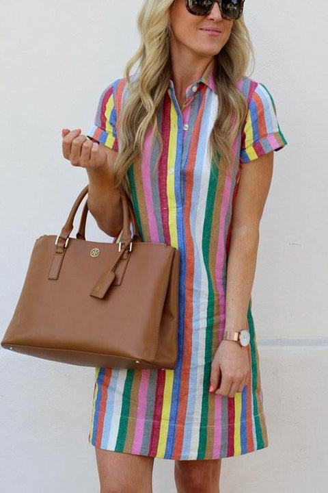 Meridress Rainbow Candy Striped Shirt Dress
