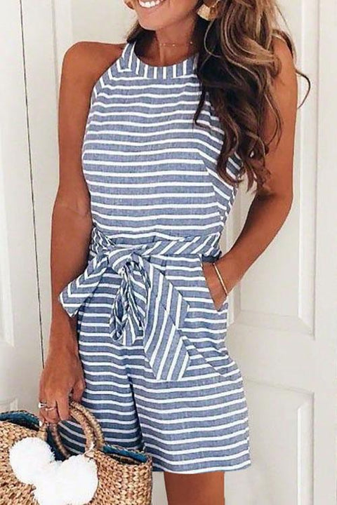 Meridress Bow-knot  Striped Romper