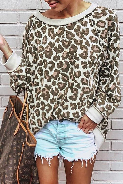 Meridress Sexy Leopard Printed O-Neck Long Sleeves Hoodies