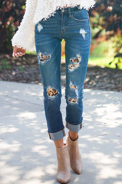 Meridress Skinny Leopard Patch Ripped Jeans