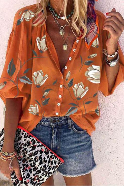 Meridress Arviel Floral Printed Buttoned Blouse Shirt
