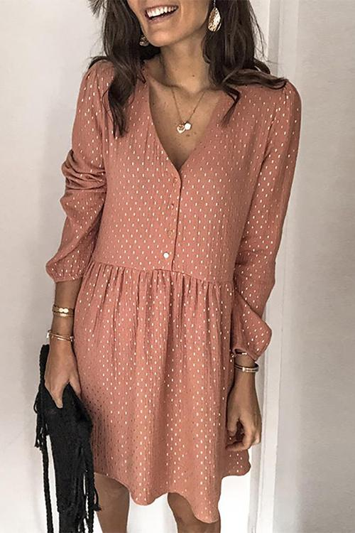 Meridress V Neck Polka Dots Flare Swing Dress