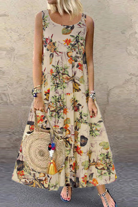 Meridress Vintage Floral Print Sleeveless Maxi Dress
