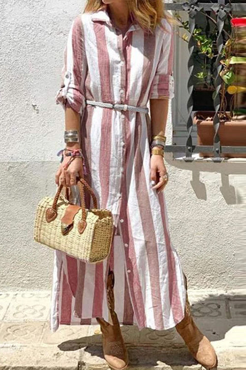 Meridress Striped Button Down Roll Up Sleeve Shirt Dress