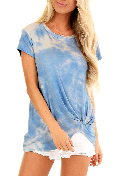 Meridress Tie Dye Front Twist Knot Shirt