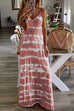Meridress V Neck Spaghetti Strap Tie Dye Casual Maxi Dress