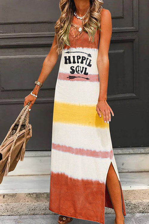 Meridress V Neck Tie Dye Side Split Maxi Dress