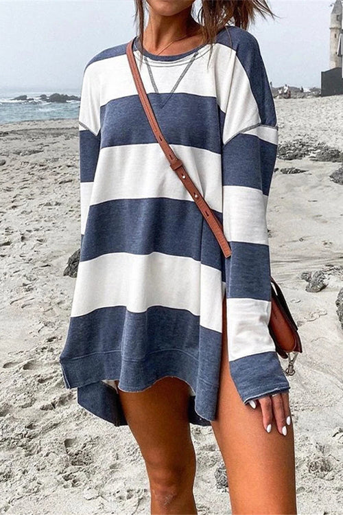 Meridress Striped Long Sleeves Side Split Pullover