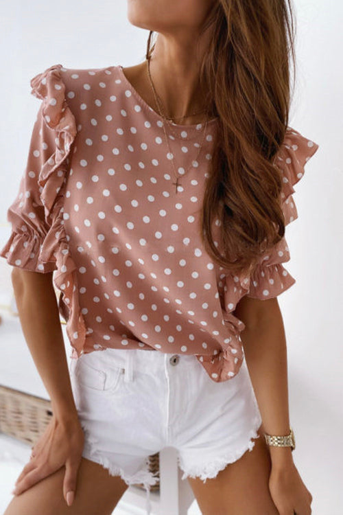 Meridress Ruffle Polka Dots Pullover Top