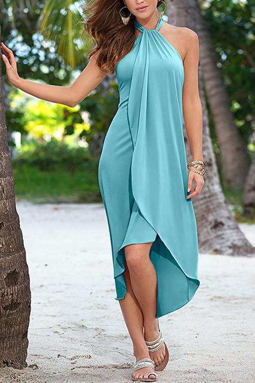 Meridress Halter Tie Neck Irregular Hem Sleeveless Dress