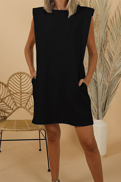 Meridress Crew Neck Shoulder Pad Sleeveless Dress with Pockets