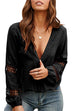 Meridress Deep V Neck Hollow Out Solid Color Blouse Top