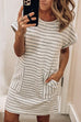 Meridress Olana O Neck Striped Dress with Pockets