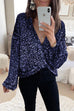 Meridress Deep V-Neck Wrap Front Sequin Top