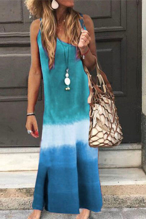 Meridress V Neck Flowy Tie Dye Gradient Maxi Dress