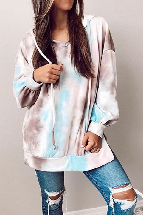 Meridress Tie Dye Long Sleeves Split Side Drawstring Hoodies