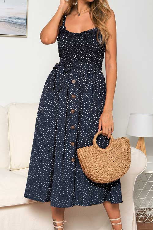 Meridress Ruffle Polka Dot Pleated Cami Dress
