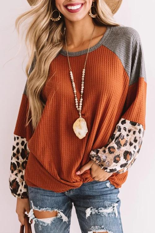 Meridress Leopard Splice Twist Knot Casual Pullover Top