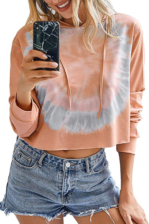 Meridress Tie Dye Long Sleeve Crop Top Hoodies