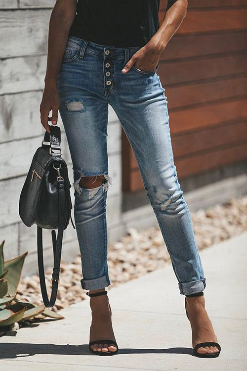 MR High Waist Distressed Ripped Buttoned Jeans