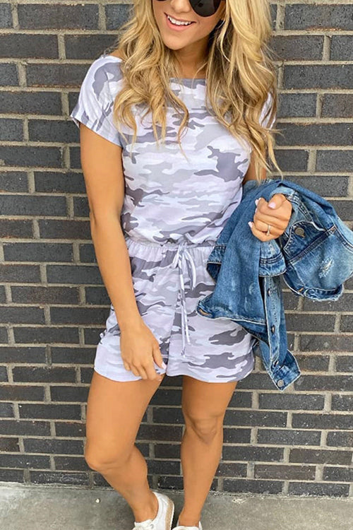 Meridress Summer Camo Short Sleeve Romper with Pockets