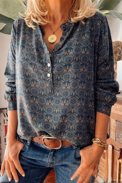 Meridress Satnd Collar Printed Button Down Pullover Shirts