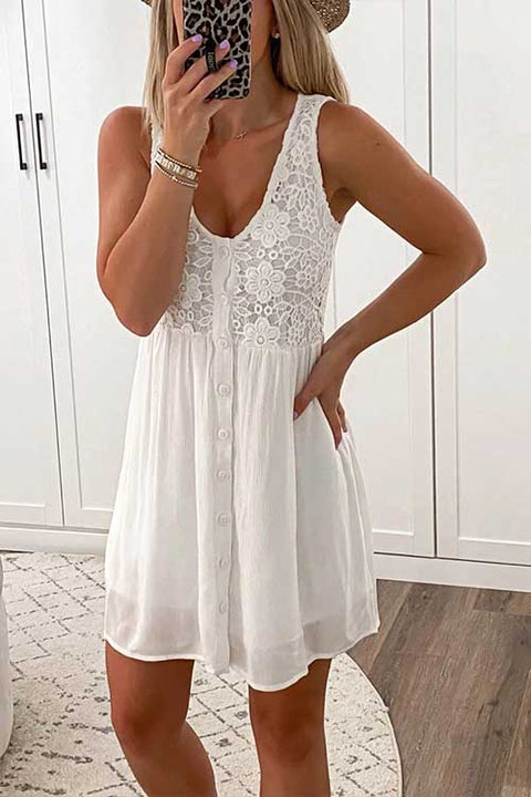 Meridress Lace Floral Button Down Sleeveless Dress