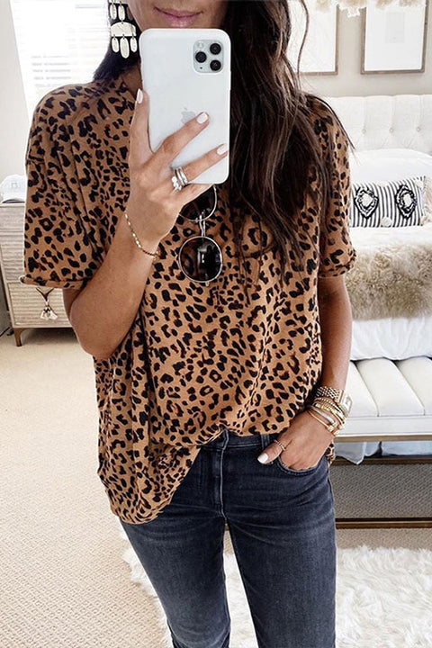 Meridress Leopard Print Short Sleeve Cute Blouse