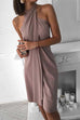 Meridress Crisscross Halter Neck Irregular Beach Dress