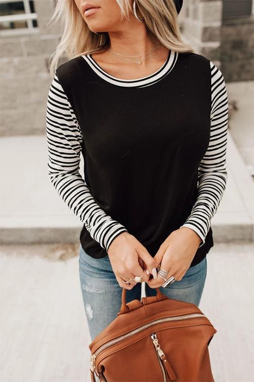 Meridress Crewneck Stripe Splice Tunic Tops