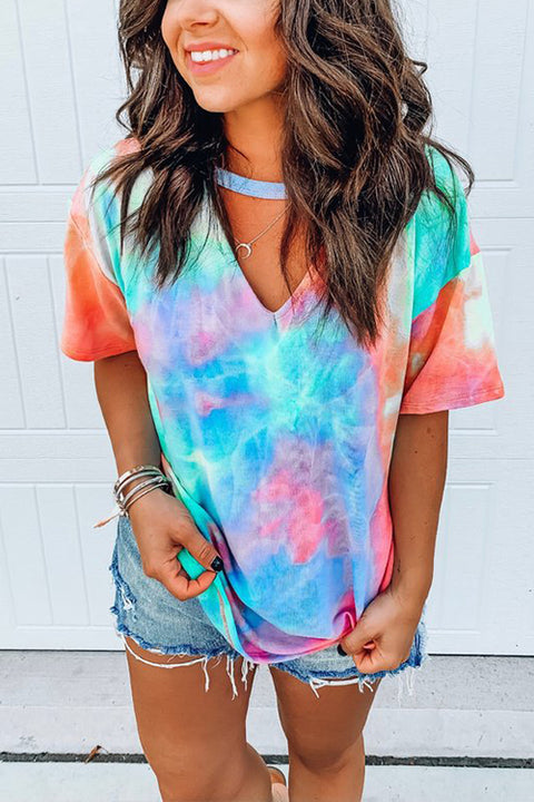 Meridress V Neck Cut Out Tie Dye T-shirt