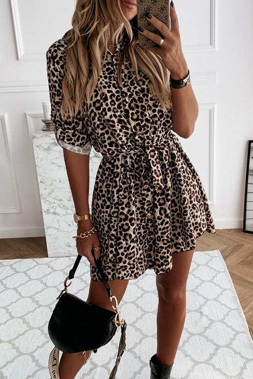 Meridress Tie Waist Buttoned Leopard Dress