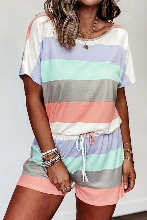 Meridress Striped Color Block Short Sleeves Drawstring Romper