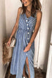 Meridress Striped V Neck Button Down Split Dress