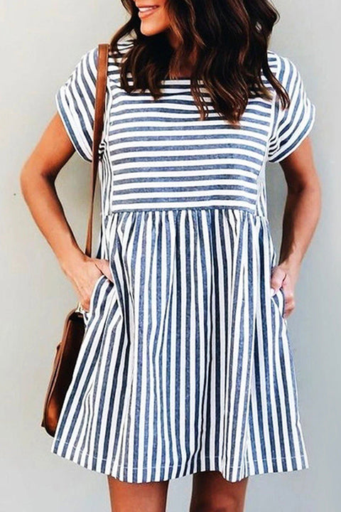 MR Square Collar Striped Casual Dress