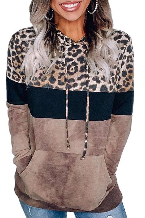 Meridress Leopard Splice Color Block Hoodied Sweatshirt