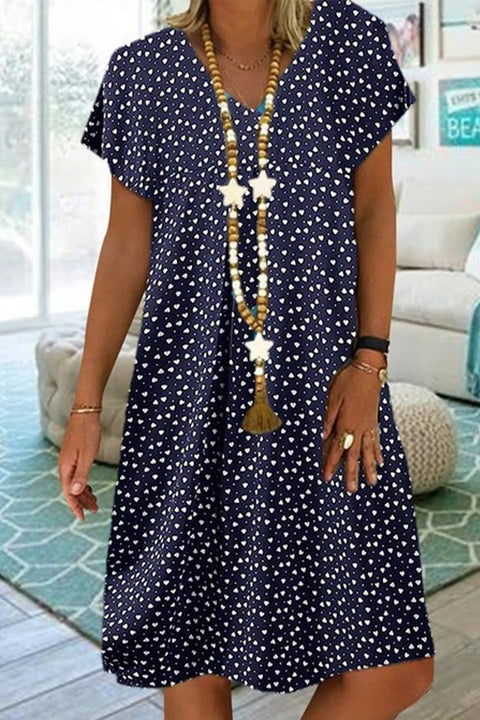 Meridress Polka Dots Hearts Printed V Neck Casual Dress