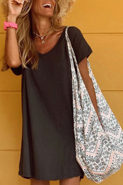 Meridress V Neck Short Sleeve Flowy T-shirt Dress